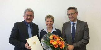 Minister Wolf, Dr. Monika Stade und OLG-Präsident Riedel. (Foto: Ministerium der Justiz und für Europa)
