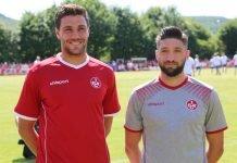 Benjamin Kessel und Brandon Borrello in den neuen Trikots (Foto: 1. FC Kaiserslautern)