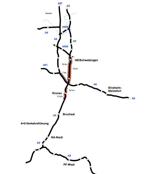 Karte mit den betroffenen Autobahnabschnitten (Quelle: Regierungspräsidium Karlsruhe)