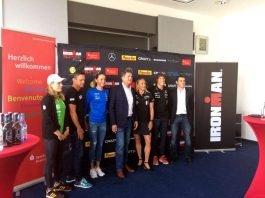 Laura Lindemann, Thomas Hellriegel, Laura Philipp, Martin Wolff, Yvonne van Vlercken, Sebastian Kienle, Björn Steinmetz (Foto: Ironman)