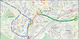 Umleitung zur Baustelle L605 (Plan: TBA)
