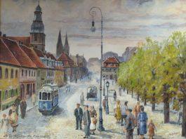 Landschaft und Natur haben Ludwig Petzinger zeit seines Lebens inspiriert. Das Öl-Gemälde zeigt einen Blick auf das Wettersteinmassiv in Österreich. Sein geliebtes Pirmasens, wie er es als Kinder vor dem Zweiten Weltkrieg erlebt hatte, bannte der Maler besonders gerne auf die Leinwand. (Sammlung: Stadtarchiv Pirmasens)