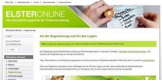 der neue Internetauftritt Elster-Online