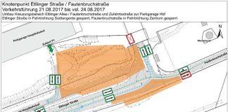 Verkehrsführung Ettlinger Straße/Fautenbruchstraße (pdf) in zwei Abschnitten: 21. bis 24. August und 25. August bis 3. Oktober 2017 (Plan: Stadt Karlsruhe)