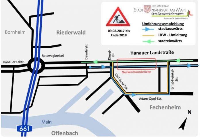 Frankfurt Neckermannbrücke Verkehrsführung ändert Sich