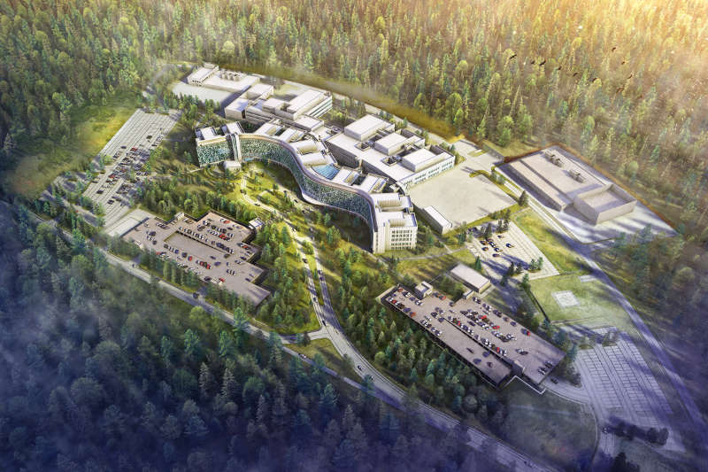Visualisierung US-Militärkrankenhaus Weilerbach (Quelle: HOK/HWP Architekten)