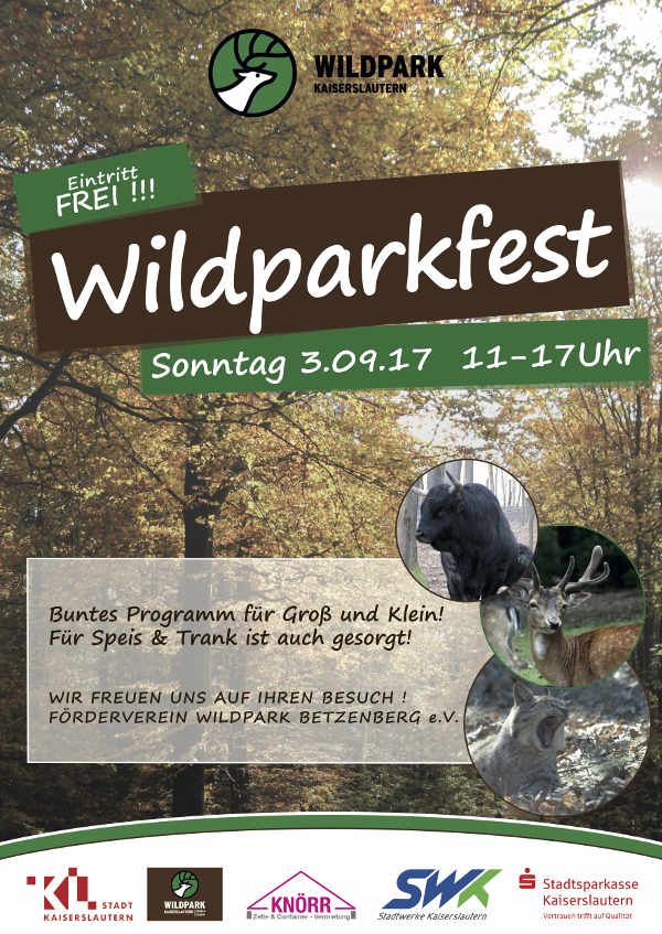Wildparkfest am Sonntag, 3. September