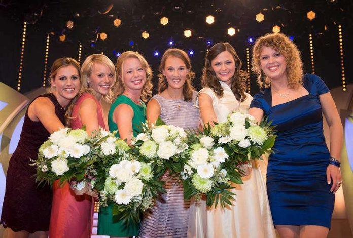 vlnr: Laura Lahm (Rheinhessen), Katharina Staab (Nahe), Charlotte Freiberger (Hessische Bergstraße), Silena Werner (Franken), Friederike Wachtel (Sachsen) , Anastasia Kronauer (Pfalz). (Foto: DWI)