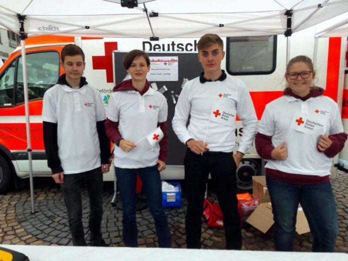 Schülerinnen und Schüler des Schulsanitätsdienstes der VIKO, v. l.: Finn (15), Verena (15), Luca (16) u. Anja (14). (Foto: DRK-Kreisverband Darmstadt-Stadt e.V.)