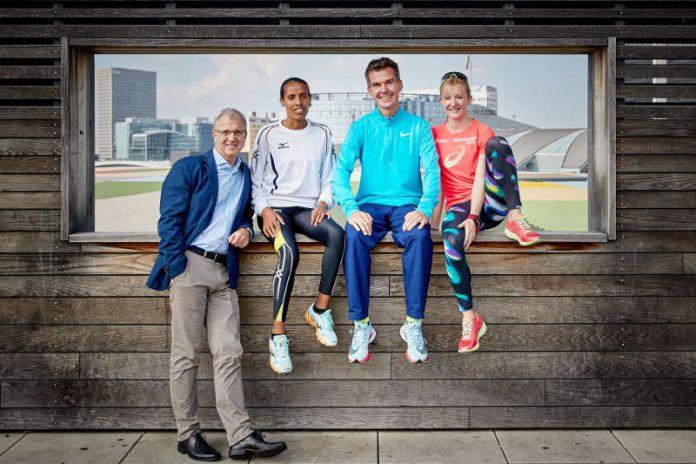 Jo Schindler, Fate Tola, Arne Gabius und Katharina Heinig (Foto: Mainova Frankfurt Marathon)