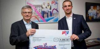 Dr. Georg Müller, Vorstandsvorsitzender der MVV (li.), und Daniel Hopp, Geschäftsführer der Adler (Foto: AS-Sportfoto / Sörli Binder)