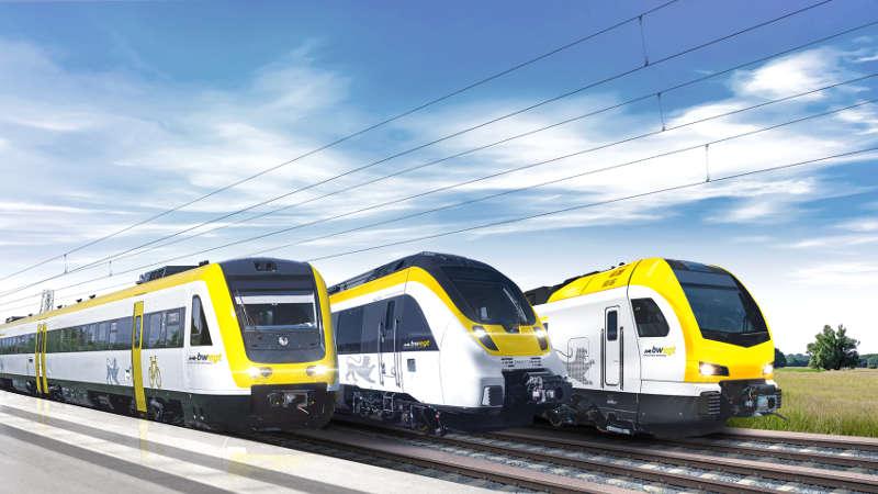 Bilder der Züge im Landesdesign (Foto: Deutsche Bahn AG/ Volker Emersleben)