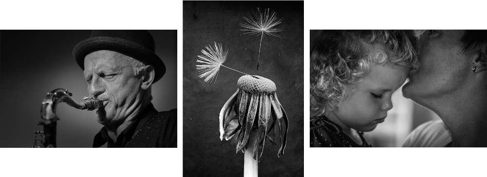 """Die Gewinnerfotos in den Kategorien """"Der Mensch in allen Facetten"""", """"Landschaft und Natur"""" und """"Schwarz-Weiß-Fotografie"""" (Fotos v.l.: Michael Dorscheid, Günther Schad, Jörg Liedtke)"""