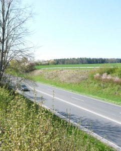 Das Bild ist im Mai 2016 nach den Gehölzpflegearbeiten im Zuge der B 254 bei Fulda entstanden. Auf einer Länge von 50 Metern wurden die Gehölze auf den Stock gesetzt. Im rechten Bildabschnitt liegen die Gehölzpflegearbeiten zwei Jahre zurück. (Foto: Hessen Mobil)