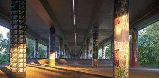 Graffiti-Galerie des GrünGürtels unter der A 66 (Foto: Stefan Cop / Umweltamt Stadt Frankfurt)