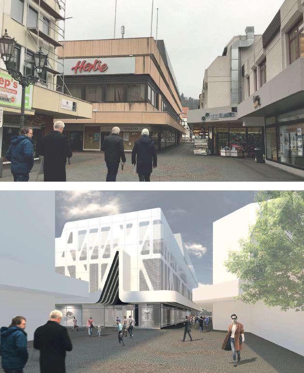 Im Vergleich das alte (aktuelle) Gebäude und die Visualisierung (Foto: Stadtverwaltung Neustadt)