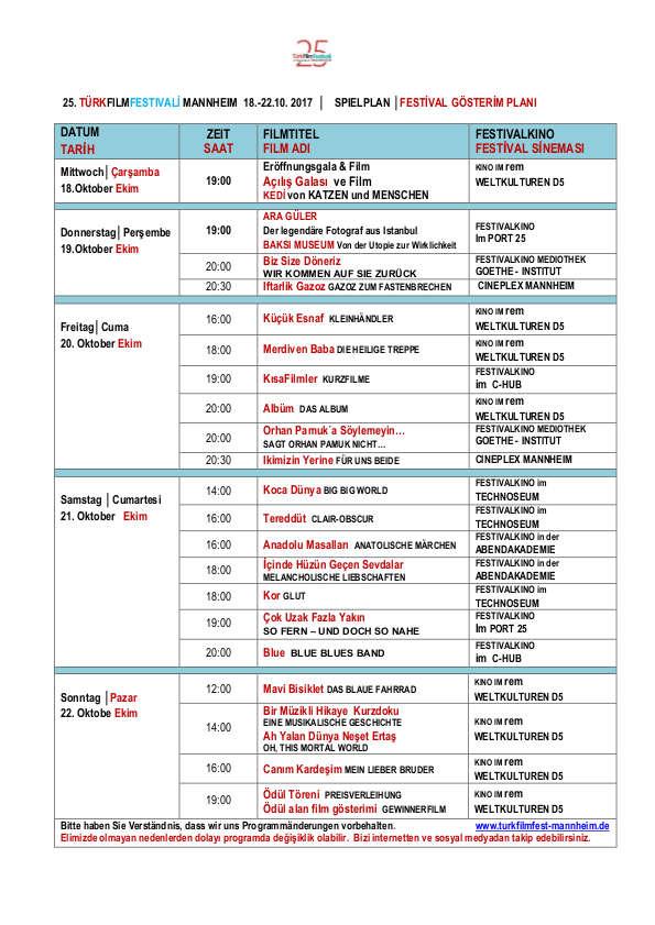 TurkFilmFestivali Mannheim 2017 Programmübersicht und Spielplan