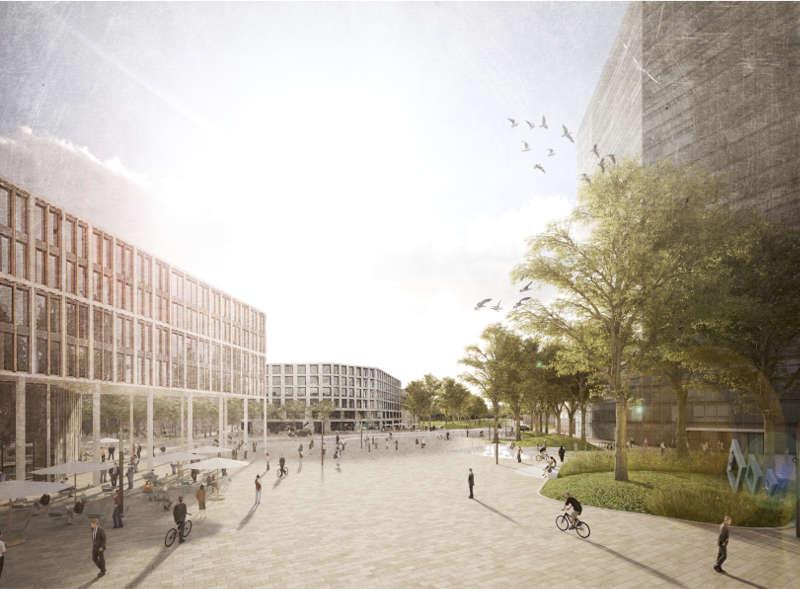 Visualisierung Linderhof - Blick vom Bahnhof (Quelle: Stadt Mannheim)