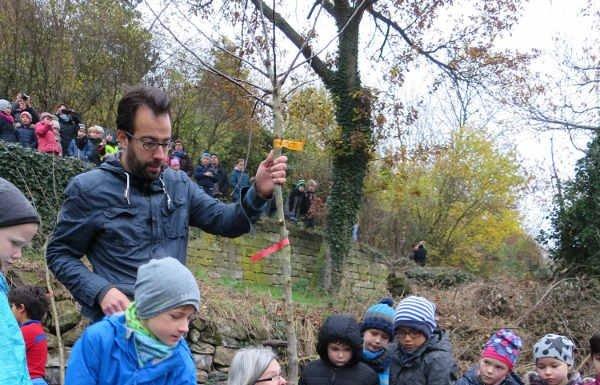 Die kleine, neue Streuobstwiese wird von den Kindern der Schöntalschule gepflegt. (Foto: Stadtverwaltung Neustadt)