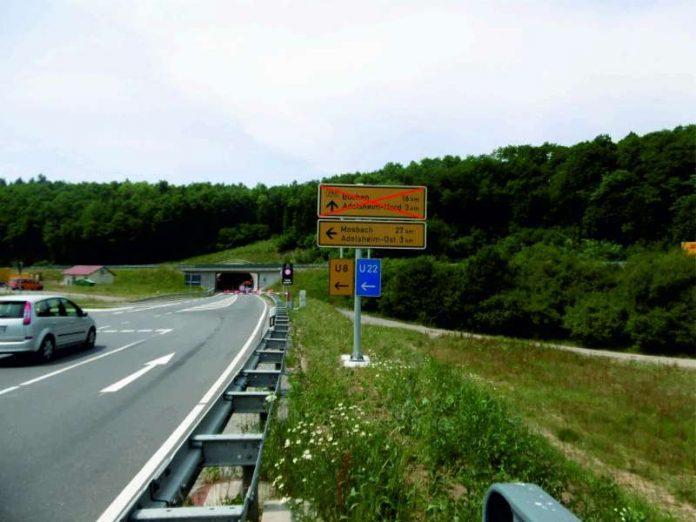 Am Montag, den 6. November ist der Eckenbergtunnel von 19.00 Uhr bis 6.00 Uhr gesperrt. (Foto: Landratsamt Neckar-Odenwald-Kreis)
