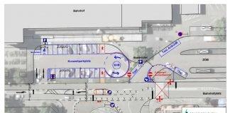 Plan für die Neuordnung des Bahnhofsareals (Quelle: Stadt Bruchsal)