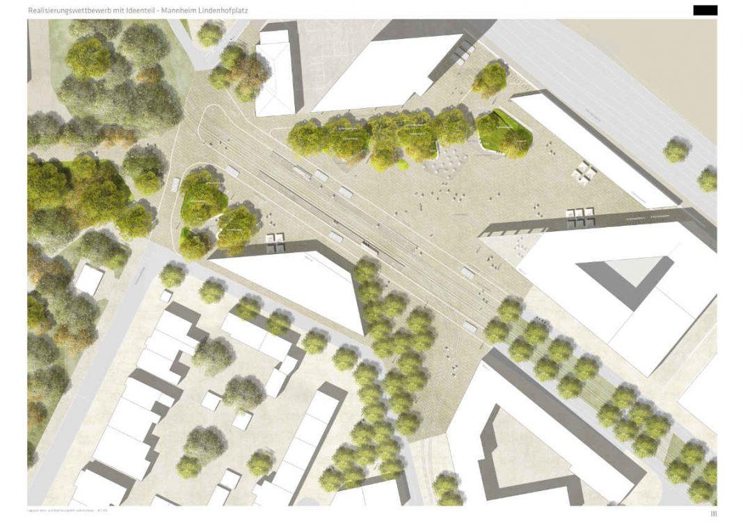 Visualisierung des neuen Linderhofplatzes aus der Vogelperspektive (Quelle: Stadt Mannheim)