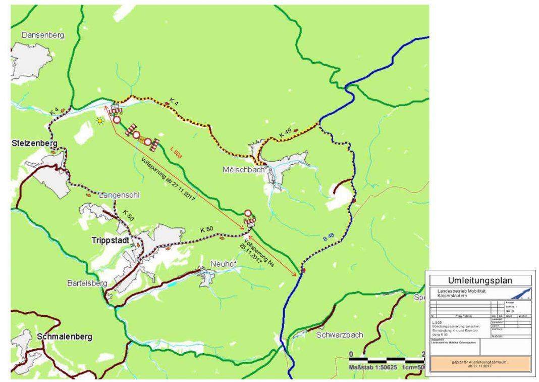 Umleitungsplan - Skizze (Quelle: LBM Kaiserslautern)
