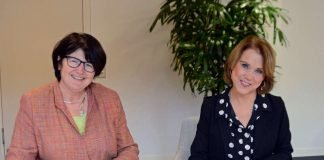 Petra Olschowski und Oberbürgermeisterin Cornelia Petzold sichern mit ihren Unterschriften die Finanzierung der BLB. (Foto: MWK)