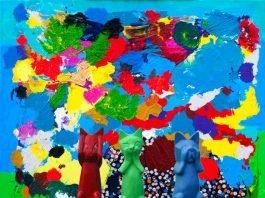 """Grundhaltung"" Assemblage, Acrylfarbe/Holz, 100/100 cm, 2017 (Foto: Renato Oggier)"