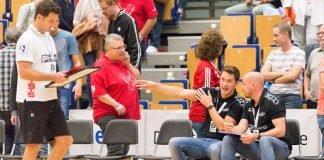 Trainer Ben Matschke, Co-Trainer Frank Müller und Gästetrainer Florian Kehrmann (Foto: Harry Reis)