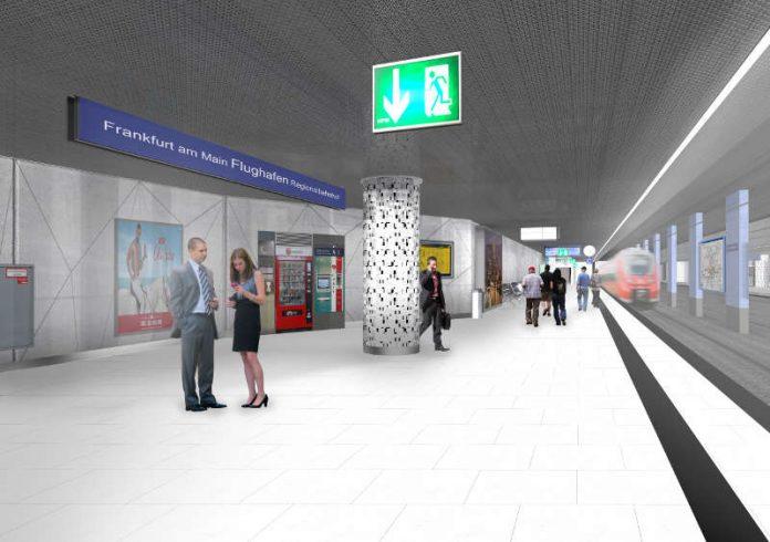 Verkehrsstation Frankfurt am Main Flughafen Regionalbahnhof wird für fast 10 Millionen Euro modernisiert und behindertengerecht ausgebaut (Foto: Deutsche Bahn AG / Dietz Joppien Architekten AG)