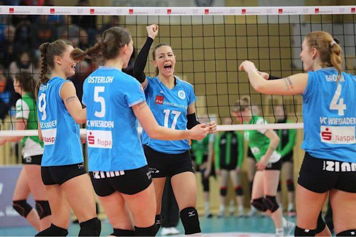 Erfolgreiches Heim-Debüt: Mittelblockerin Tanja Sredić feiert mit dem VCW Sieg über Münster (Foto: Detlef Gottwald)