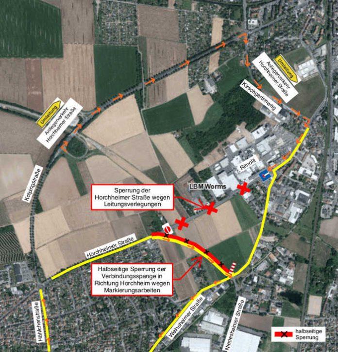 Skizze der Verkehrsführung hier (Quelle: LBM Worms)