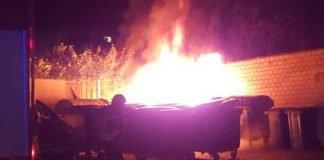 Brennende Müllconatiner