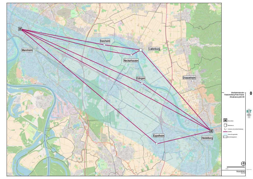 Karte Radschnellverbindung Heidelberg - Mannheim (Quelle: Ministerium für Verkehr)