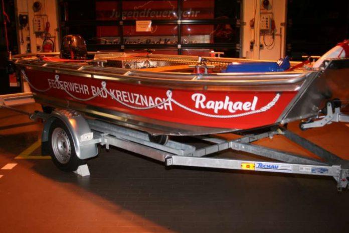 Das Rettungsboot nach der Taufe und Enthüllung des Namens (Foto: Feuerwehr Bad Kreuznach)