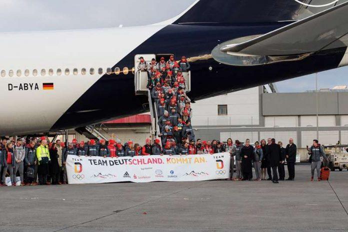 Empfang des TEAM DEUTSCHLAND am Frankfurter Flughafen. (Foto: DOSB/picture-alliance)