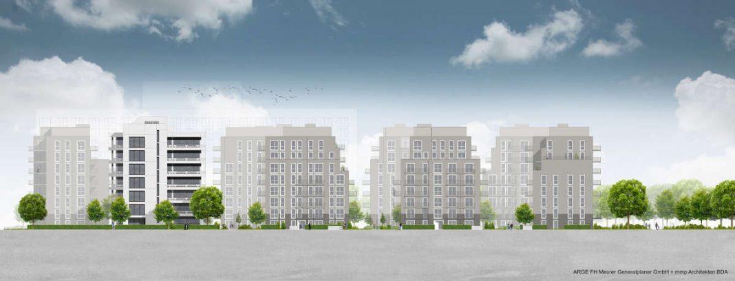 Visualisierung 'Grünes Wohnquartier Herriotstraße' (Quelle: ARGE FH Meurer Generalplaner GmbH + mmp Architekten BDA)