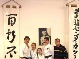 Bundestrainer Karamitsos (links) und Richard Seipp (rechts) mit Talenten aus Ladenburg (Foto: BCRN)