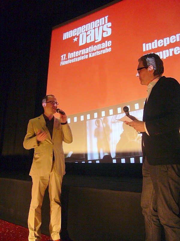 Festivalleiter Oliver Langewitz (links) im Gespräch mit Moderator Marc Ephraim (Foto: Hannes Blank)