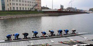 Im Karlsruher Rheinhafen ist auch oft der Achter, die Königsklasse des Rudersports, zu beobachten (Foto: KRV Wiking e.V. / KRA e.V.)