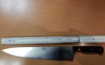 Das Messer hat eine Klingenlänge von 44 cm