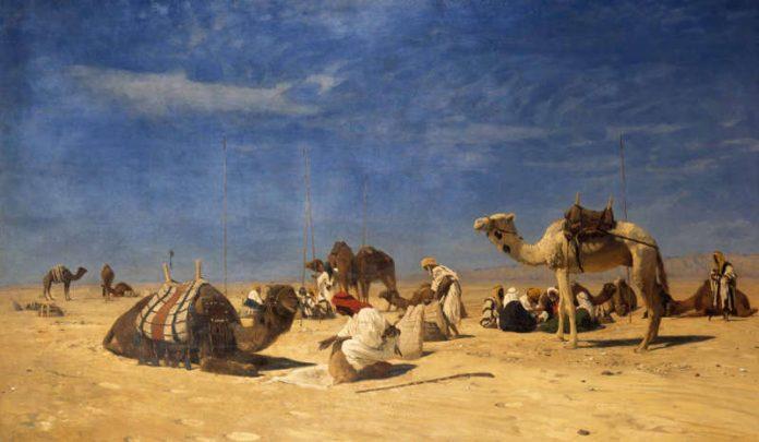 Eugen Bracht, Rast in der Wüste_(Peträisches Arabien)_1882_GDKE Rheinland-Pfalz, Landesmuseum Mainz, Inv. Nr. MP 603 (Foto: Ursula Rudischer/GDKE LMMz)