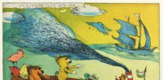 """""""Oh weh, es tobt die See"""", 2017,Farbradierung, handsigniert,Bildmaß 19,5 cm x 24 cm,Papier 30 cm 40 cm,Auflage 199 + e.a. (Bildnachweis: Janosch Film und Medien AG)"""
