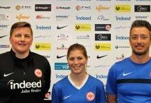 Leiten bis zum Saisonende interimsmäßig die 1. Fußballfrauen: Tina Wunderlich, Gritt Broening und Carlos Pereira (v.l.) (Foto: Eintracht Frankfurt)