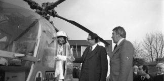 Indienststellung von Christoph 16 am 14. April 1978. Notärztin Dr. Silke Schiersmann, Bundesinnenminister Werner Maihofer und Saar-Innenminister Alfred Wilhelm (von links nach rechts). (Quelle: Landesarchiv Saarland9