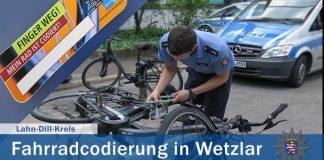 Polizei in Wetzlar codiert am 11.04. kostenlos Fahrräder - vorherige Anmeldung unter Tel.: (06441) 9180 ist zwingend erforderlich!