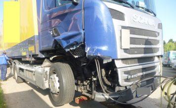 Gefahrgut-LKW an der Unfallstelle A63 Höhe Saulheim