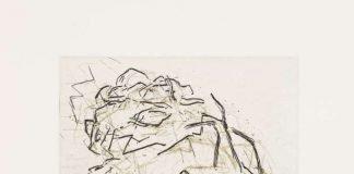 Frank Auerbach (* 1931) Julia Asleep, 2001 Radierung und Aquatinta von zwei Platten in Schwarz über Gold 203 × 252 mm (Platte) Städel Museum, Frankfurt am Main. Erworben 2018 als Schenkung aus Privatbesitz, Köln Foto: Städel Museum – ARTOTHEK © Frank Auerbach, courtesy Marlborough Fine Art