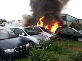 Mehrere PKW standen in Flammen (Foto: Feuerwehr Bad Kreuznach)